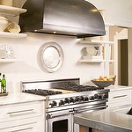 mFloating Shelves, Open Shelves, Small Shelves, White Kitchens Cabinets, Tiny Kitchens, Range Hoods, Design Kitchens, Vent Hoods, Stainless Steel