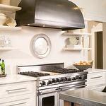 mFloating Shelves, Open Shelves, Small Shelves, White Kitchens Cabinets, Tiny Kitchens, Range Hoods, Design Kitchens, Vent Hoods, Stainless Steel