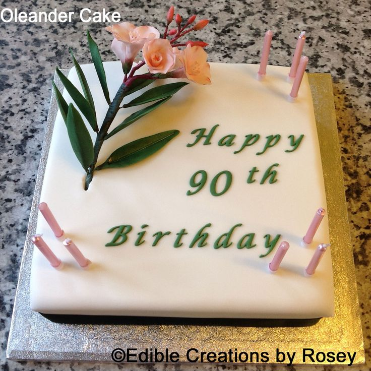 90th birthday cake with sugarpaste Oleander by Edible Creations by Rosey