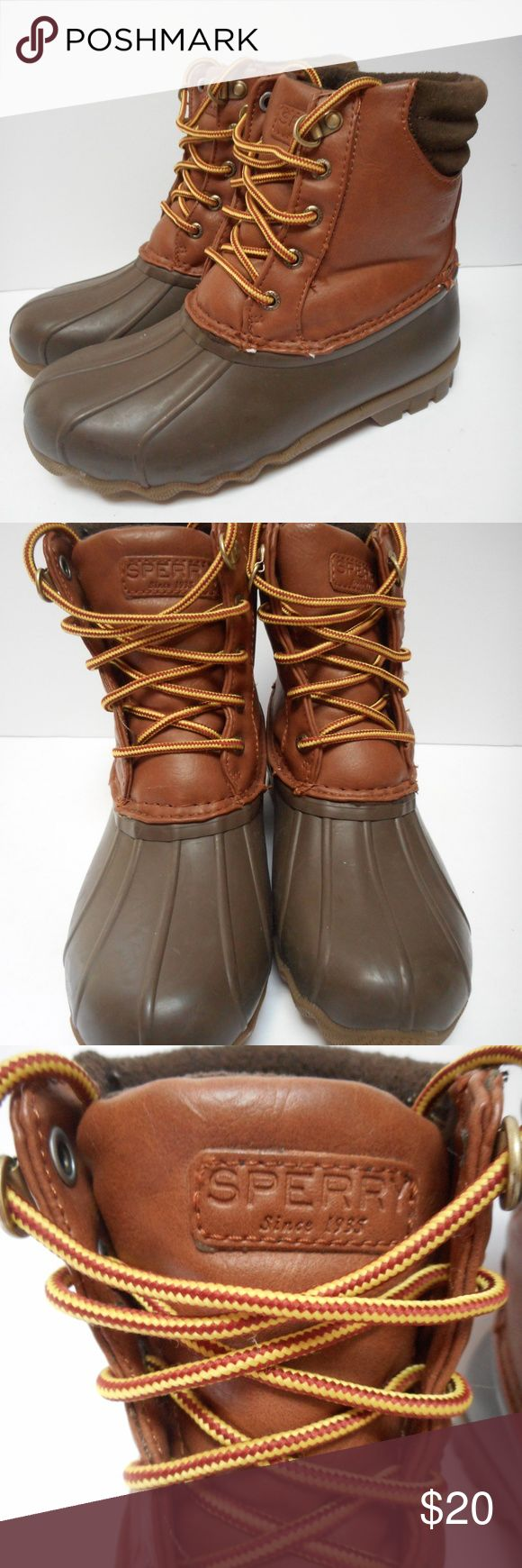 Boys Sperry Avenue Duck Boots Tan Brown Sperry Avenue Duck Boots  Boys size 3 medium Tan & brown Lace up Waterproof rubber boots with faux leather upper  Very good condition - no flaws or wear - name written on  bottom is barely visible Sperry Shoes Boots