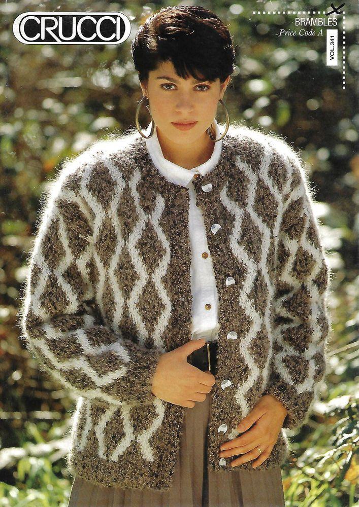 Women's Diamond Pattern Cardigan Crucci 341 knitting pattern worsted loopy yarn #Crucci