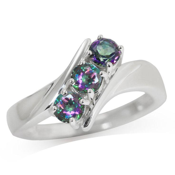 3-Stone Mystic Fire Topaz 925 Sterling Silver Ring    eBay