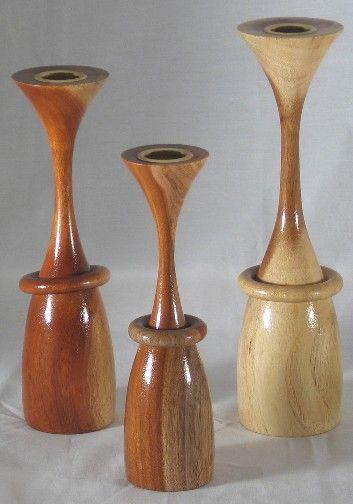 Acacia Candlestick set with Captive Rings   WOODTURNING ...