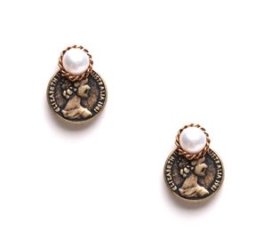 Vintage Coin Earrings with Pearl - Handmade Jewelry, Antique ($18)