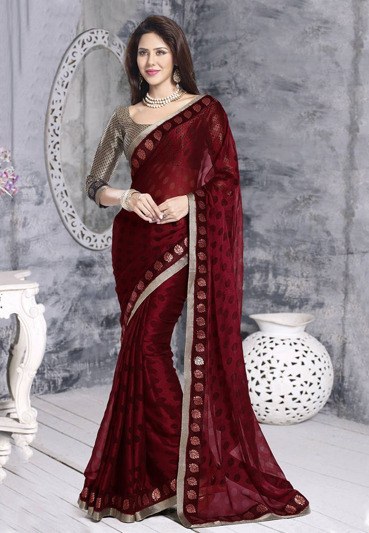 "Buy Maroon Faux Georgette Brasso Saree with Blouse online, work: Brasso, color: Maroon, usage: Festival, category: Sarees, fabric: Georgette, price: <span class=""Geosymbol"">`</span>2370.10, item code: SAR755, gender: women, brand: Utsav"
