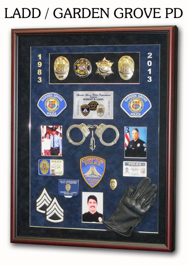 Police Shadowboxes from Badge Frame. Ladd / Garden Grove PD