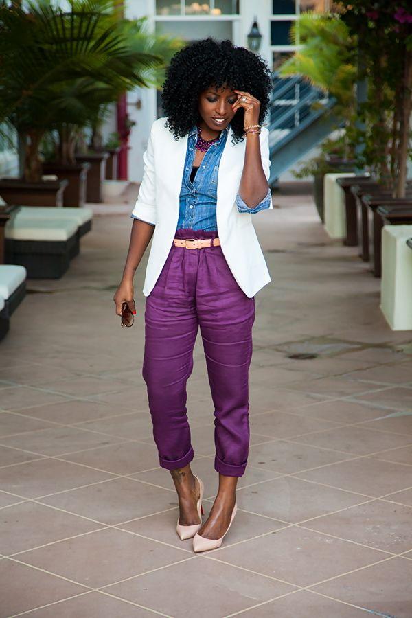 Style Pantry | White Blazer + Denim Shirt + Pegged Pants