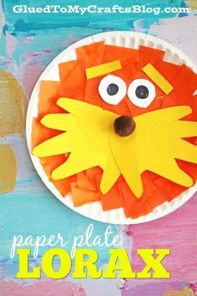 Paper Plate Lorax - Kid Craft Idea