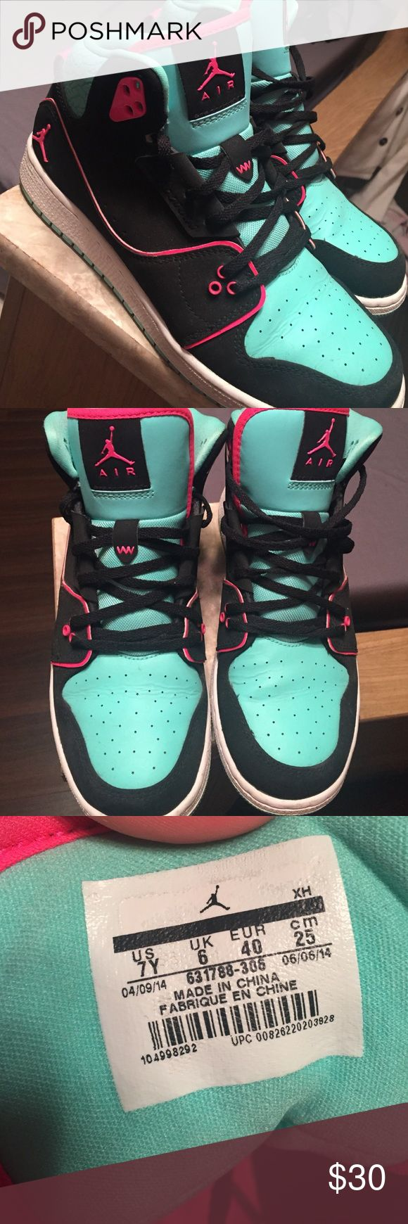 Kids Jordan's Teal, pink, & black Jordan's. Boyfriend bought me for Christmas, did not fit my feet well so only wore a few times to make him happy! Jordan Shoes Sneakers