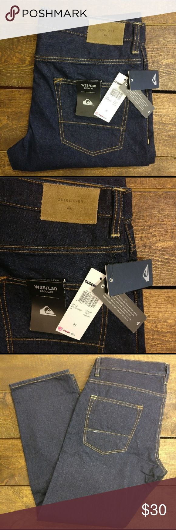 "Quiksilver regular fit men's denim • 11.5oz medium weight denim material  • 30"" inseam  • 5 pocket design  • 100% cotton  • zip up fly Quiksilver Jeans"