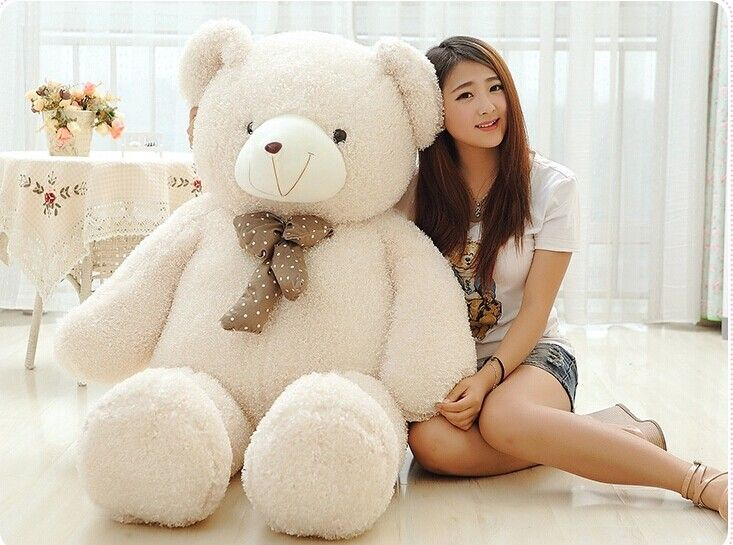 huge lovely teddy bear doll candy colours teddy bear with spots bow plush toy doll birthday gift beige about 160cm