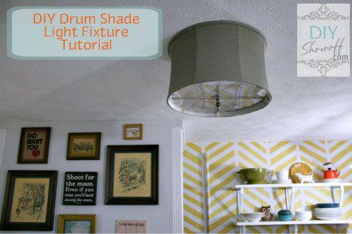 Get rid of those boob lights! DIY Drum Shade Ceiling Mount Light Fixture Tutorial