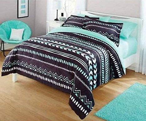 Your Zone Twin Tribal Bedding Set & Mint Green Twin Sheet Bundle