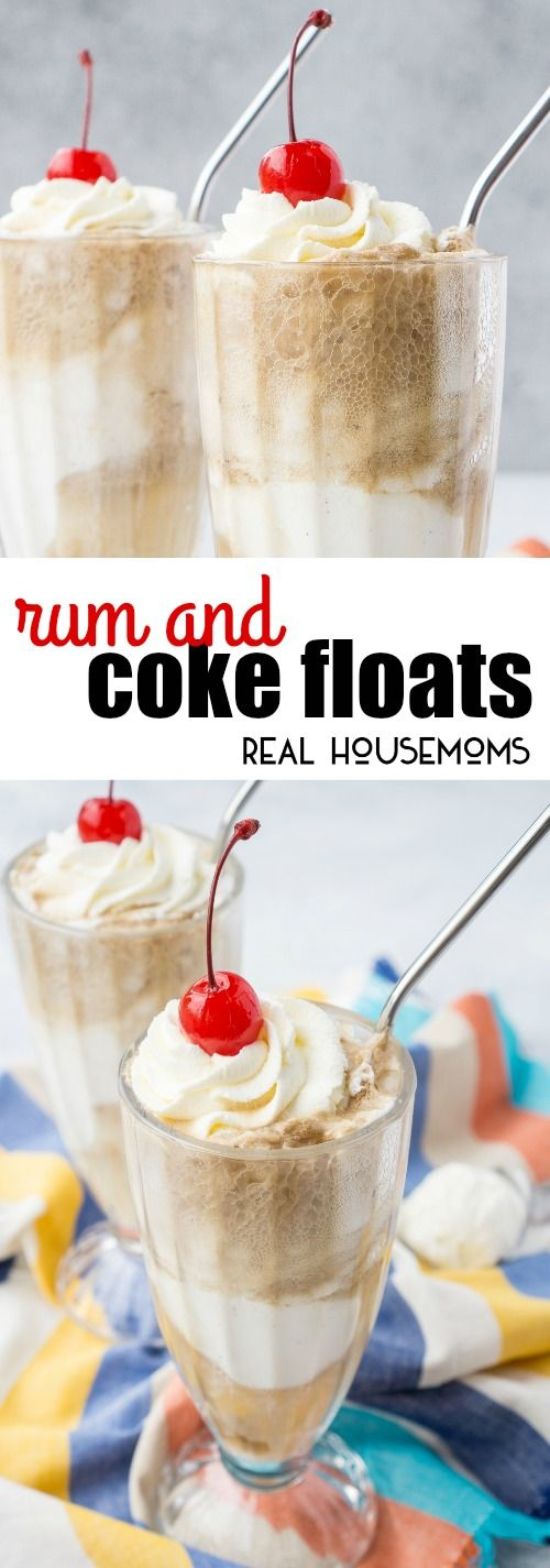 These Rum & Coke Floats are a simple, quick, and delicious summer twist on the class cocktail! via @realhousemoms