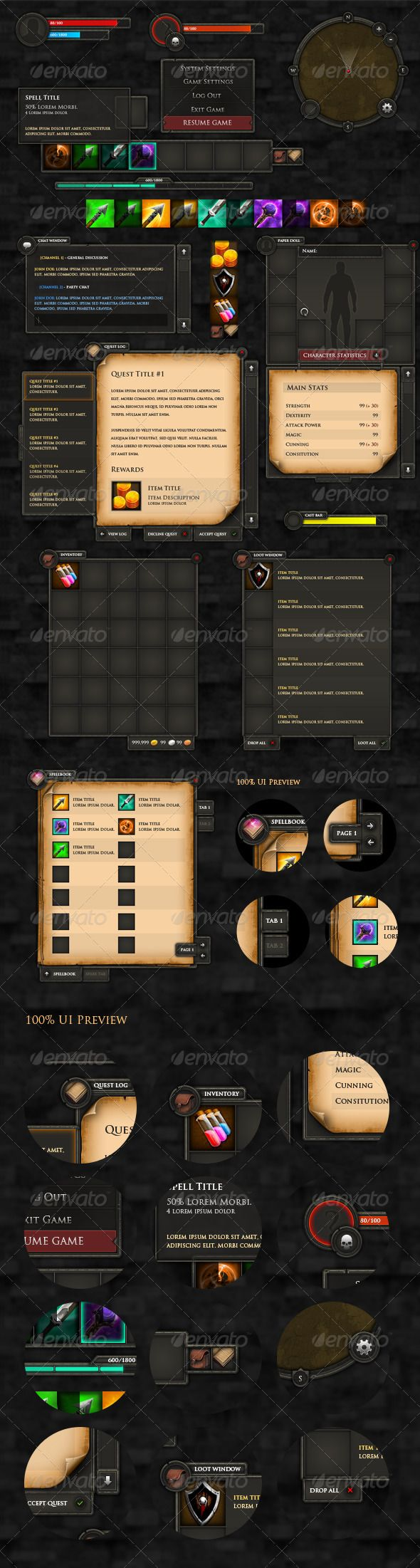 RPG User Interface - GraphicRiver Item for Sale UI