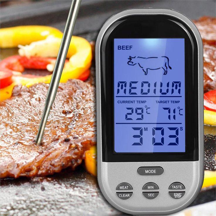 Digital BBQ Thermometer Wireless Dapur Oven Grill Perokok Memasak Makanan Daging Thermometer dengan Probe dan Timer Suhu Alarm