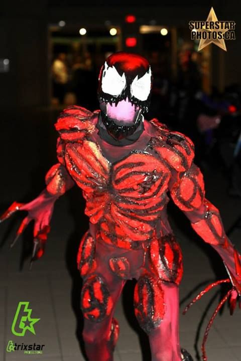 The husband at a Halloween event as Carnage from Spiderman!