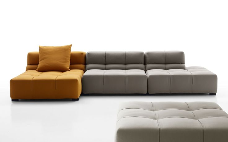 News 2015_ Tufty-time 15 design by Patricia Urquiola The modular system is built around an ottoman, a basic unit that is joined by central, corner and terminal elements with high or low armrests. The result is a 360° seating solution with traditional linear sofas, chaises longues and corner and island units.