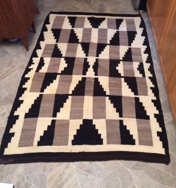 Large Navajo Rug Vintage Native American Weaving Textile 76