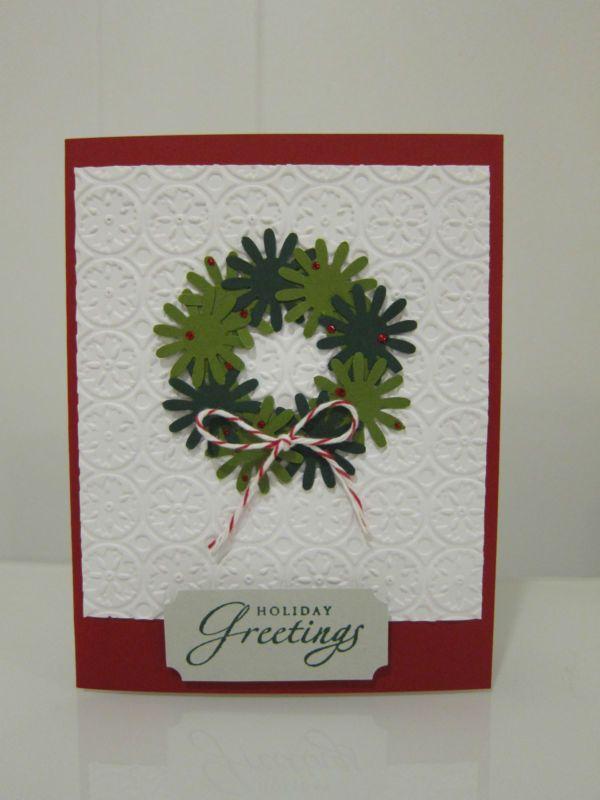 """Stampin Up """"праздничные поздравления"""" бумага венок изделие Рождественская открытка ручной работы"""