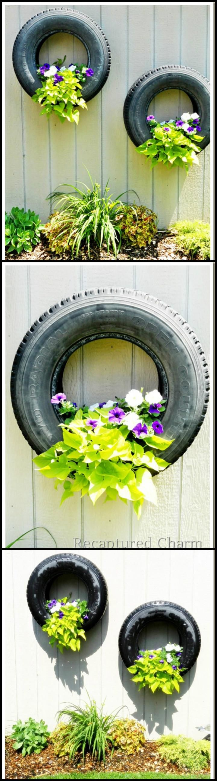 Old Tire Planters for Garden Fence - 25+ DIY Fence Decorating Ideas & Projects - Page 4 of 5 - DIY & Crafts