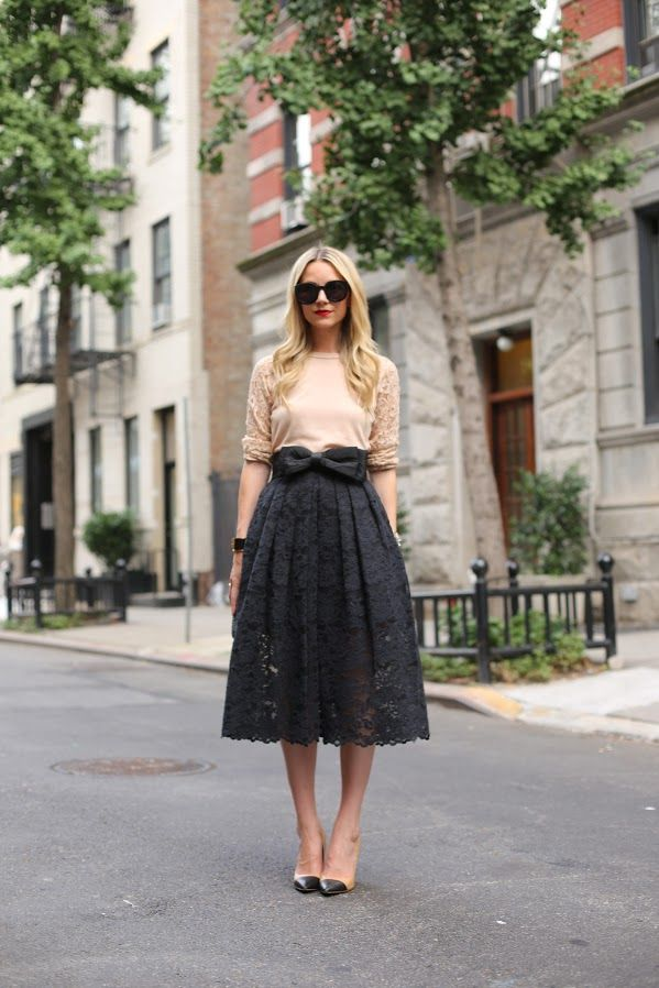 Cream Lace Top, Black Lace Midi Skirt with Bow Belt, Oversized Sunnies, Vintage Style Heels