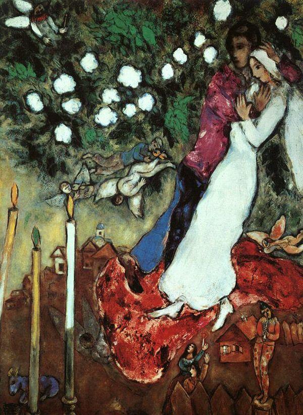 """Chagall, Pintor De Sonhos... """"As Três Velas"""", 1938-1940, Coleção The Readers Digest Association Inc., Pleasantville, Nova Iorque: Chagall combina aqui o tema de amantes com flores, em clima de quase festa. Na composição, integrada pelos motivos mais variados, destacam-se as velas, símbolos da fé e mesmo da possibilidade infinita do amor."""