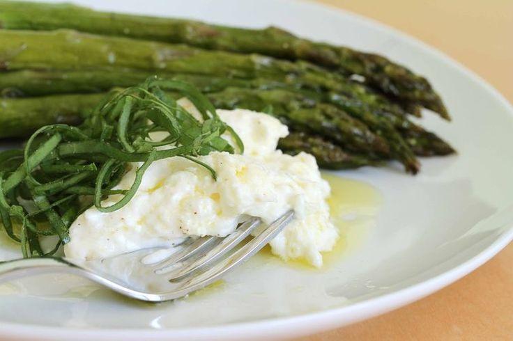 Roasted asparagus with burrata, Tahitian lime oil and sorrel chiffonade recipe on Food52