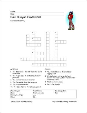 Paul Bunyan Printables - Paul Bunyan Wordsearch. Print the Paul Bunyan Word Search and find the Paul Bunyan related words.: Paul Bunyan Crossword Puzzle