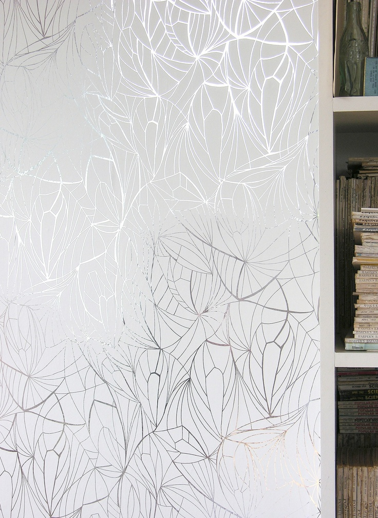 Leaf wallpaper -metallic silver   For the Home   Pinterest