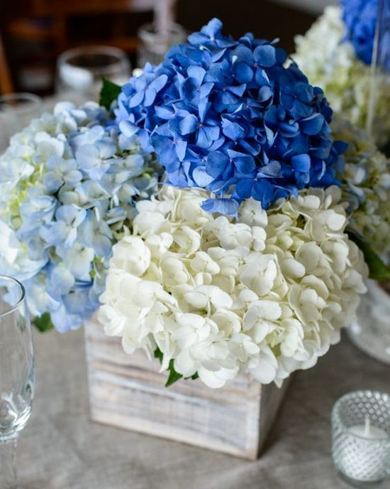 rustic white blue hydrangea wedding centerpiece / http://www.himisspuff.com/rustic-wedding-centerpiece-ideas/14/