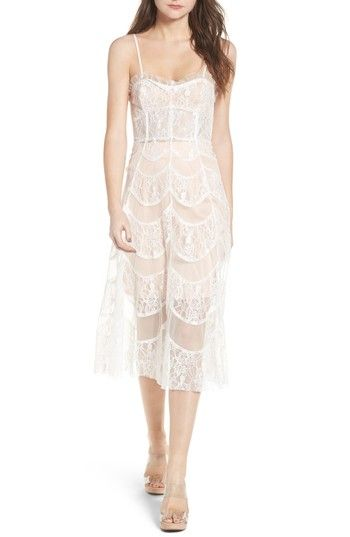 Free shipping and returns on For Love & Lemons La Bella Strapless Midi Dress at Nordstrom.com. A beautiful combination of classic lace and contemporary sheerness makes this strapless midi, designed with supportive boning, a romantic ensemble.
