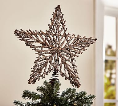 This could go on my little tree for the livingroom that is rustic ...LOVE IT  <3  :)  ...Twig Star Tree Topper #potterybarn