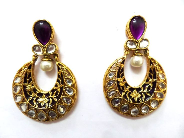 Purple Dangle Kundan Pearl Meena Designer Earring 2pc Set 18K Gold filled Indian #ShouryaExports #DropDangle