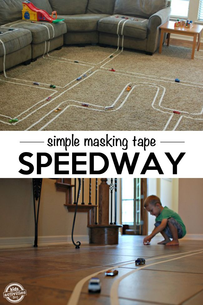 Kids can get really creative if you let them build a track for their toy cars…