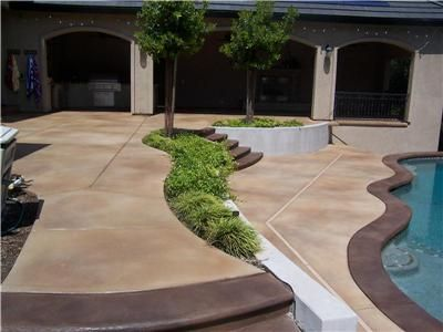 Excellent use of stained concrete for this pool deck and patio. Richardson's Concrete Effects Carmichael, CA