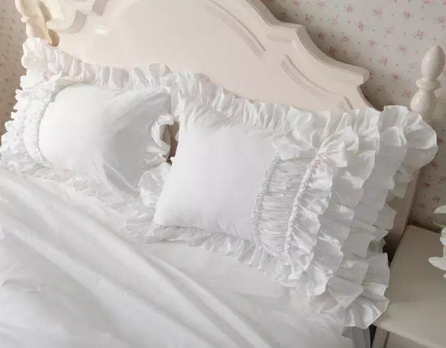 Pure White Cotton Korean Style Luxury Princess Wedding Home Beding 4pcs Sets Super King Size Duvet Co Ruffle Duvet Cover King Size Duvet King Size Duvet Covers