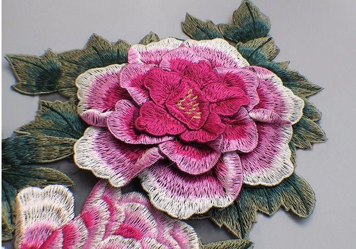 3D Многоцветной Кружева Патч Ткань Пион Аппликация Компьютер Вышитые Цветы Стадия Одежда Diy Аксессуары RS808 купить на AliExpress