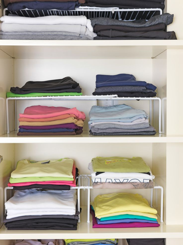 """""""Whenever you're in doubt, always go vertical,"""" says Adam Glassman. """"But to avoid total chaos, invest in some wire kitchen shelving, like we did for Gayle's workout wear."""" Double-click for more smart storage tricks"""