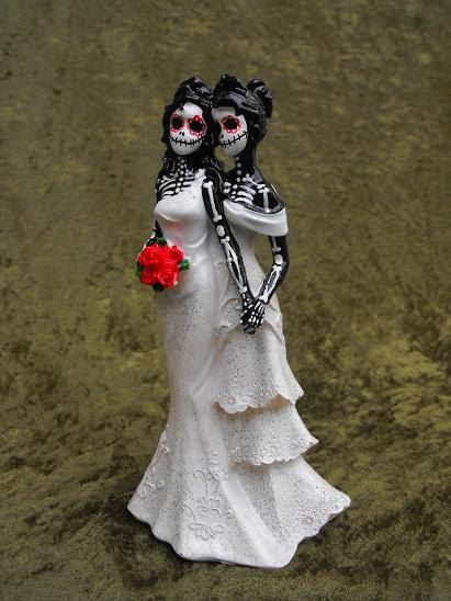 Day of the Dead WEDDING CAKE TOPPER - Two Women. $40.00, via Etsy.