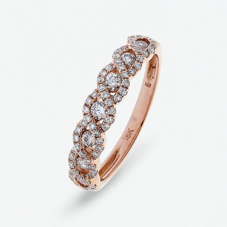 Rose Gold Wave Design Diamond Ring by Hatton by Design