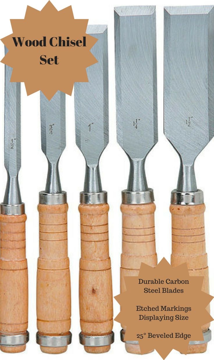 """These general-purpose wood chisels feature durable carbon steel blades and hardwood handles that stand up to hammer and mallet blows. The wood chisel set includes six different standard blade widths with helpful etched markings displaying size. Blade widths include 1/4"""", 1/2"""", 3/4"""", 1"""", 1-1/4"""", 1-1/2"""" #diy #wood #chisel #woodworking #afflink"""