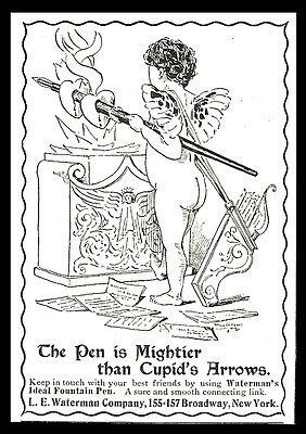 Waterman's Pen Cupid 1901 AD Ideal Fountain Pen Mightier Than Cupid's Arrows