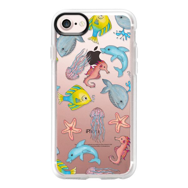 Cute Underwater Sea Creatures in Watercolor Illustrations - iPhone 7... ($39) ❤ liked on Polyvore featuring accessories, tech accessories, iphone case, clear iphone case, iphone cover case, iphone cases and apple iphone case