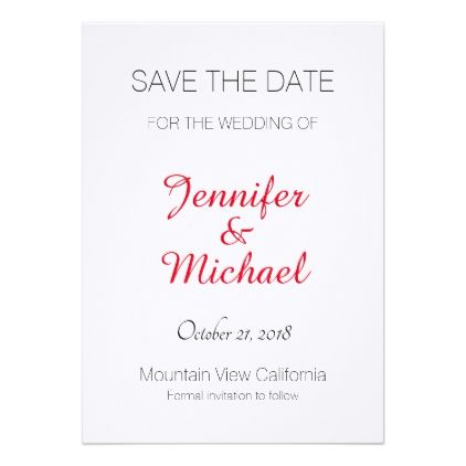 #Linen Save the Date Wedding Red Handwriting Modern Card - #engagement #party engagement partywedding showerwedding