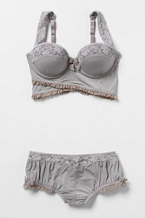 Gray-blue and dusty pink: Clouded Morning Bra and pantie set by Anthropologie looks comfy.