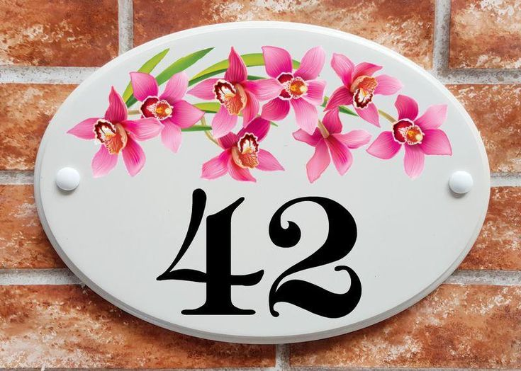 Orchid flowers house number sign (code 063)