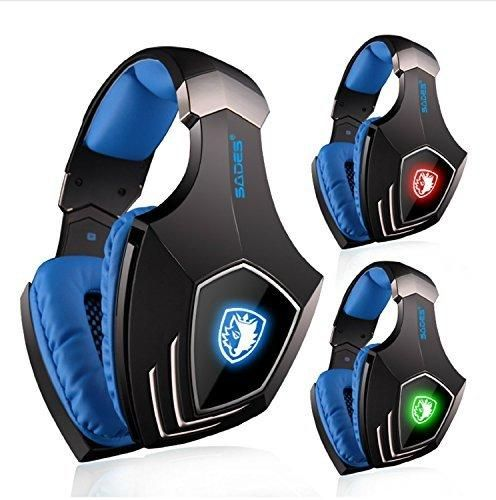 SADES A60 Virtual 7.1 Surround Sound Gaming Headset with Microphone USB Over the ear Headphone LED Light for PC Laptop