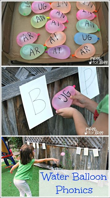 Give students box of water balloons with  word endings. Have students pick a balloon and bring it up to a letter to see if it makes a word. If it does, students read the word and try and throw the balloon on the letter to pop it. For cooler months, could do a similar thing with bean bags and hoops.