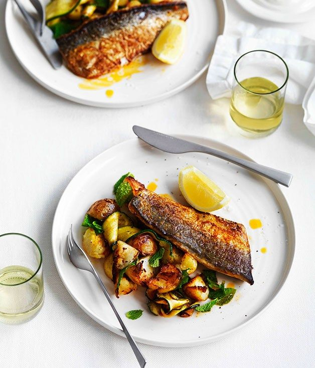 Harissa-grilled mackerel with potatoes, zucchini and mint - Gourmet Traveller